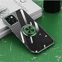 iPhone 13 Pro Max ケース リング付き 透明 アイホン 13 Pro Max ケース クリア TPU 耐衝撃 カバー メッキ おしゃれ スタンド機能 防塵 薄型 軽量 変形防止 全面保護カバー iPhone 13 Pro Max 6.7インチ アイフォンケース (緑)