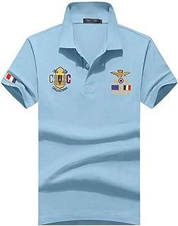 (SGL Collection) ポロシャツ メンズ 半袖 デザイン ワッペン 刺繍 トリコロール スリムフィット 薄手 バイカラー スキッパー 8色選択 S ~ XXL 【日本向けサイズ仕様】