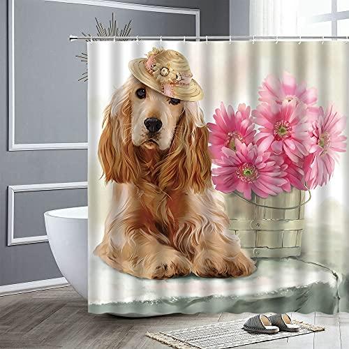 KONZFZ Cortina de la duchaCortina de Ducha de Animales, Dibujos Animados de Personalidad, Cortinas de baño de Flores para Perros, Accesorios de baño de poliéster Impermeables, decoración de bañera