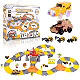 225 Pieces Create Your Own Engineering Construction Race Track Set with 1 Electric Car and 1 Electric Tank. Create Your Own Engineering Track. Best Birthday Gift, Christmas Gift, Stocking Stuffers.