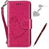 Kompatibel mit Huawei Y635 Hülle,Huawei Y635 Schutzhülle,Prägung Liebes Herz Schmetterlings Blumen PU Lederhülle Flip Hülle Handyhülle Ständer Tasche Wallet Hülle Schutzhülle für Huawei Y635,Rose Red