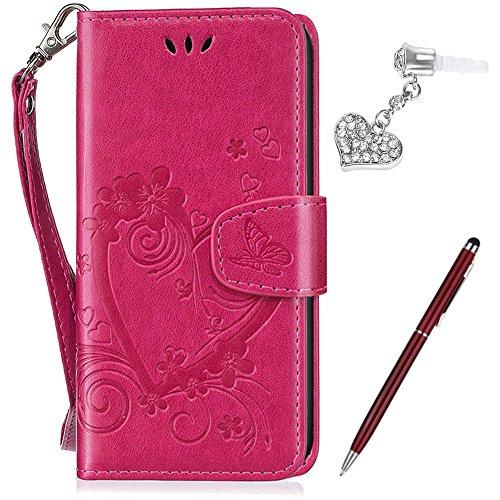 Custodia Huawei Y635,Cover Huawei Y635,Goffratura Farfalla in amore fiore di ciliegio Flip Cover Portafoglio PU Pelle Protective Wallet Stand Custodia Cover per Huawei Y635,Rosa caldo