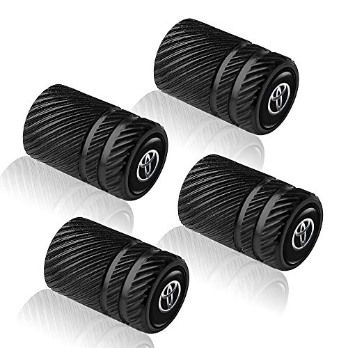 4PCS Metal Universal Tire Valve Stem Caps for Cars,Motorcycles,Bicycles with for Toyota 86 Camry Yaris Corolla 4Runner RAV4 Highlander Land Cruiser Prius Series,Styling Decoration Accessories,Black