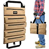 Yuede Multi Purpose Roll Up Tool Bag Organizer - Large Storage Hanging Canvas Rolling Carrier Pouch Kit for Wrench Motorcycle Cars Screwdriver Cables Camping Travel Electrician Tech Pockets Bucket Set
