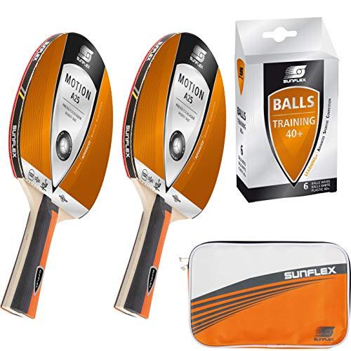 Sunflex Tischtennis Komplett Set | 2 x Motion A25 Tischtennisschläger + 1 x Protect Tischtennishülle + 6 x Training Tischtennisbälle