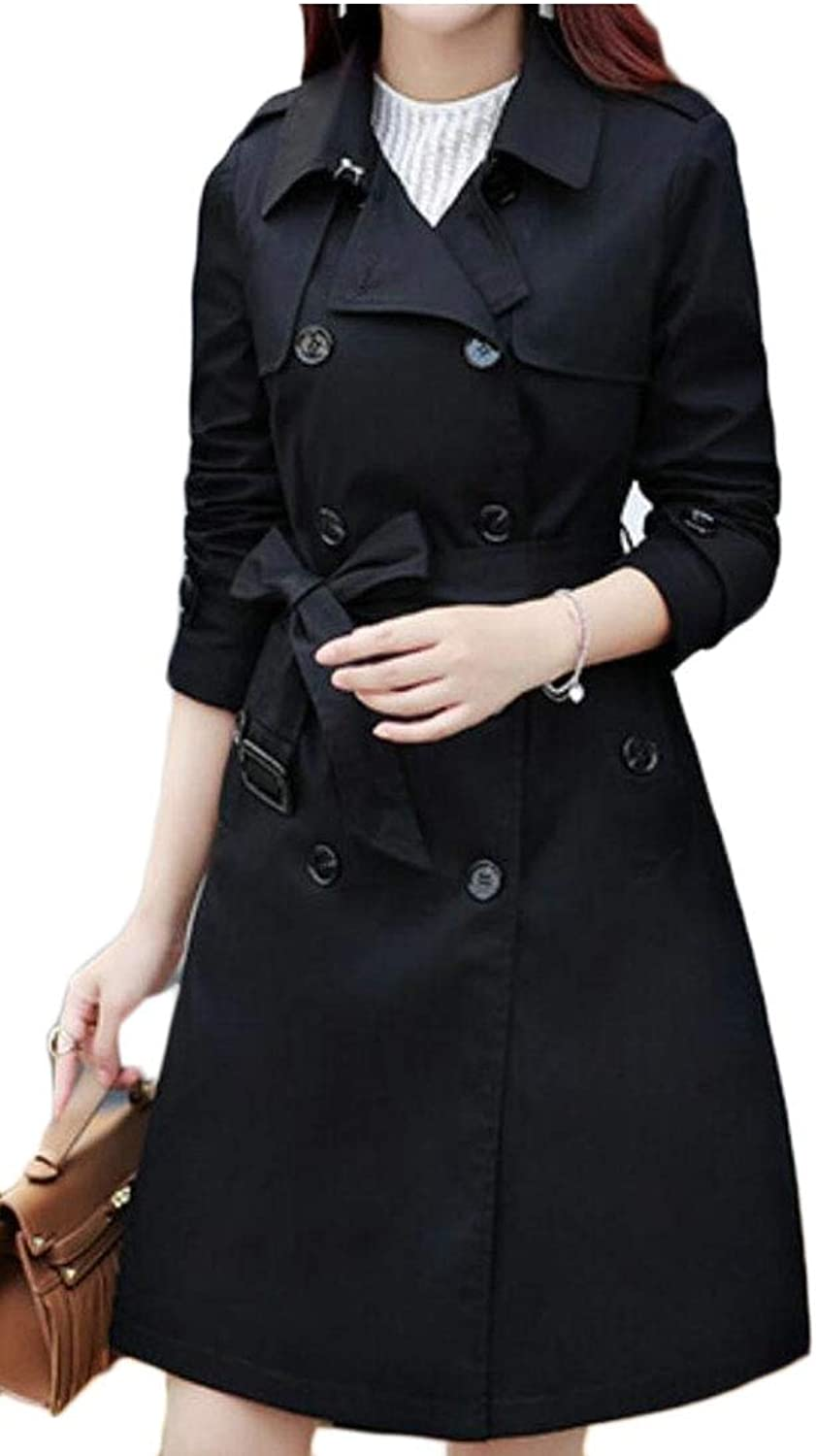 Desolateness Women's DoubleBreasted Slim Lapel Coat with Belt