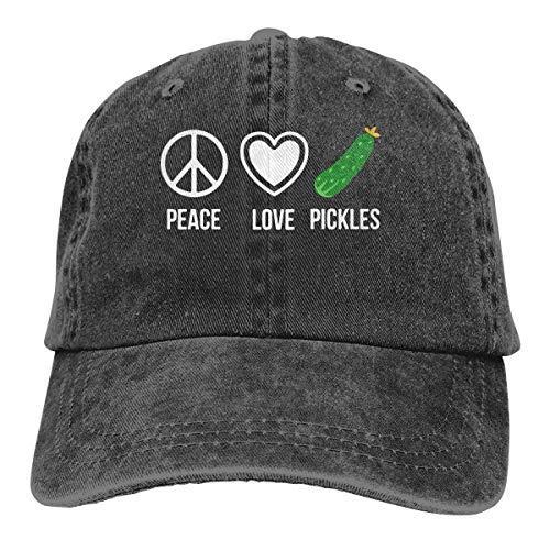 Hoswee Unisex Kappe/Baseballkappe, Peace Love Pickles Men/Women Fashion Adjustable Baseball Cap Jeans Back Closure Hip Hop Hats