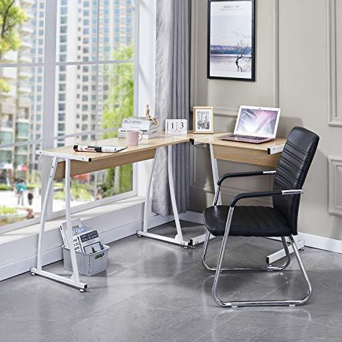 Symylife Scrivania per Computer Scrivania da Ufficio Scrivania ad Angolo a Forma di L Scrivania da Gioco per Computer di Grandi Dimensioni Scrivania da Gioco per PC Tavolo da Ufficio, Rovere