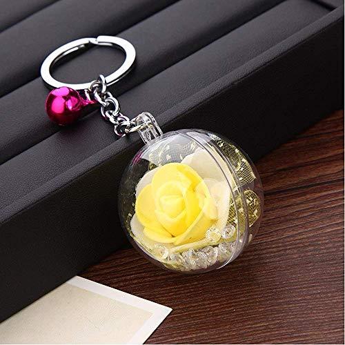 Ogquaton Neue Metallglocke Schlüsselbund Rose Blume Schlüsselanhänger Wohnaccessoires gelb neu veröffentlicht