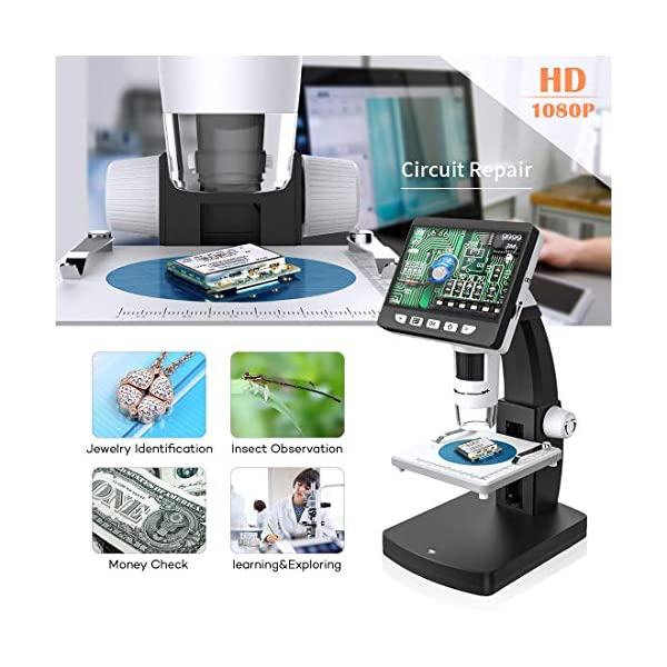 ROTEK HDMI LCD Microscopes, 4.3 Inch Display 1080P 1000X Digital Microscope 2600mAh Rechargeable Lithium Battery Portable Handheld Microscope Camera 32GB Observation Repair for Kids Students Christmas