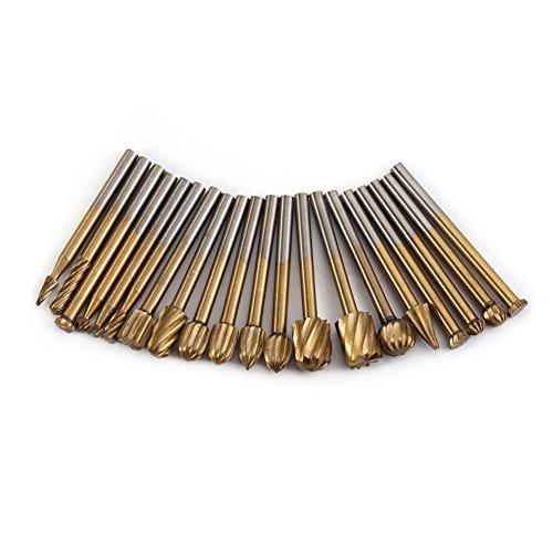 20 stück Burr Routing Bit Set, 1 / 8inch Schaft HSS Titan-Beschichtung Rotary Fräs-File Cutter Holzbearbeitung Carving-Tools, für Schleifen Polieren