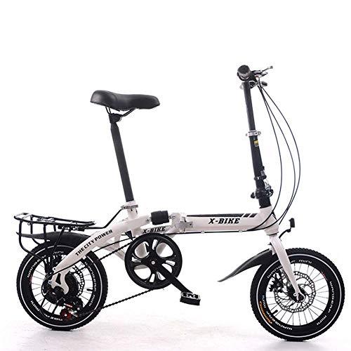 Grimk 16 Pulgadas Plegable De Aluminio Bicicleta De Paseo Mujer Bici Plegable Adulto Ligera Unisex Folding Bike Manillar Y Sillin Confort Ajustables,7 Velocidad,Capacidad 120kg
