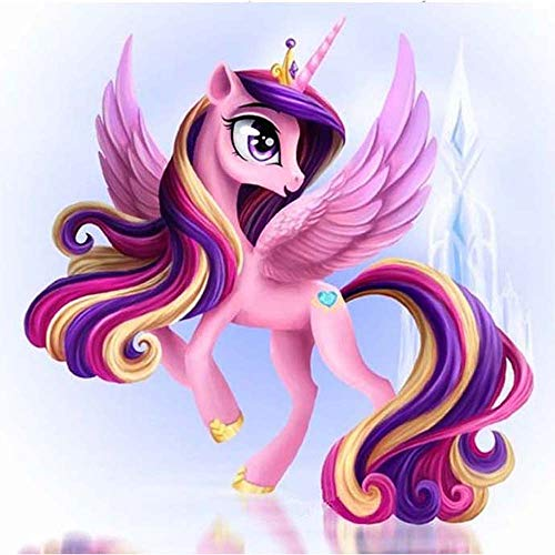 DIY 5D Kit De Pintura De Diamante Por Números Pony Princesa 5D Cuadros Con Diamantes,Bordado Punto De Cruz Kits De Suministro De Arte Manualidades Decoración 30 * 40cm