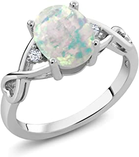 Gem Stone King Sterling Silver Cabochon White Simulated Opal Women's Ring 0.69 cttw (Available 5,6,7,8,9)