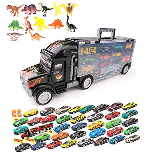 Dinosaures Transport Transporteur De Voitures Camion Jouet, Jouet Camion Comprend 13/19/25/37 Voitures Miniatures Et Accessoires - Camion Jouet Transport Transporteur De Voitures - Grand Toys Voiture