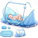 LVPY Bébé Voyage lit pliant portable filets lit bébé Bébé Moustiquaire pliante bébé, 0 à 6 mois, 110 x 65 x 60 cm, Bleu