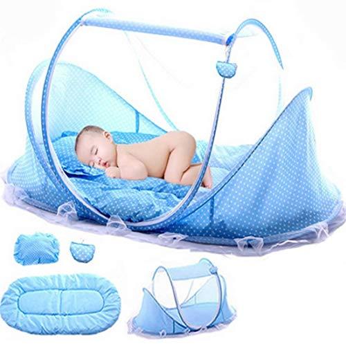 Babyzelt Reisebett, Baby Moskito Reisebett, Babyzelt Faltbett mit Moskitonetz, Matratze, Baumwollkissen und Musiktasche (blau)