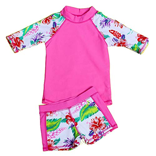 Baby Girls Kids Toddler Two Piece Round-Neck Rash Guard UV Sun Protection Beach Swimsuit (1-2 Years Old, Rose)