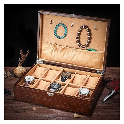 Watch Box Caja De Almacenamiento Para Reloj Estuche De Almacenamiento De Reloj De Madera Para Hombres 10 Slot Reloj De Pulsera De Lujo Regalo De La Caja, Caja De Joyería Para Hombre Y Organizador De R