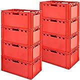 8 Stück E3 Fleischkisten Rot Kisten Eurobox Lebensmittelecht Metzgerkiste Box Aufbewahrungsbox Kunststoff Wanne Plastik Stapelbar Lagerkisten 60 x 40 Kingpower