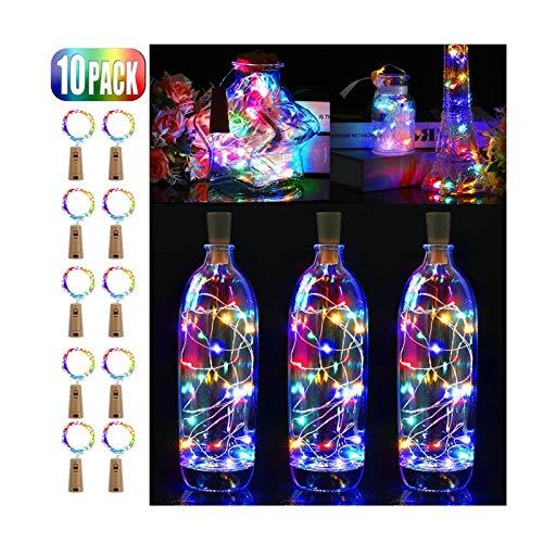 MINYUE Las Luces LED De Botellas con Corcho, Corcho Luces De Botellas De Vino De Alambre De Cobre, con Pilas Luces De Cadena, para El Bricolaje, Fiesta, Decoración, Navidad, Halloween, Boda,1m