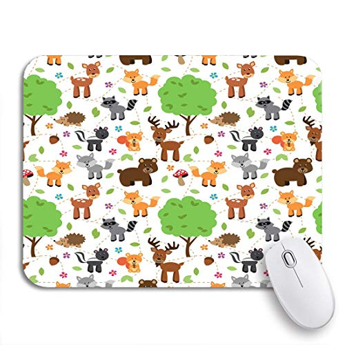 """MIGAGA Gaming Mouse Pad Creatures Tileable Forest Animals Pattern Woodland Camping Friends Acorn 9.5""""x7.9"""" Nonslip Rubber Backing Computer Mousepad for Notebooks Mouse Mats"""