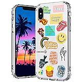 MOSNOVO Coque iPhone XS, Coque iPhone X, Culture Pop Design Motif Transparente Arrière avec TPU...