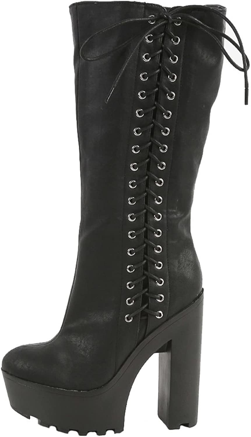 Fourever Funky Black Side Lace Up Chunky Lug Sole Knee Vegan Women's Boots
