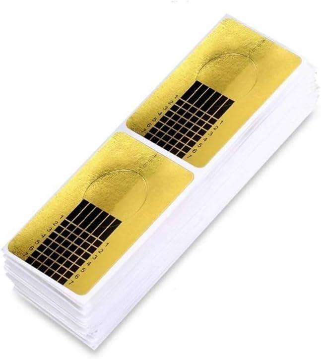 100 hojas oro Bandeja de papel de manicura: Necesario para la extensión de uñas Plantilla de bandeja de papel de Moldes Guías Pegatinas Formas UV Gel (100 hojas)