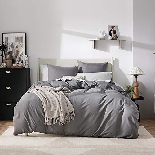 BEDSURE Bettwäsche 155x220 anthrazit Mikrofaser- Bettbezug 155x220 cm 3 teilig mit Doppelpack 80x80 cm Kissenbezüge für Doppelbett weich und bügelfrei