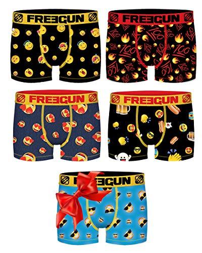 Freegun Herren Boxershorts, Fantasie, 4 + 1 Stück Gr. S, Emoji-Pack