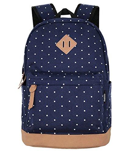 Unisex Leinwand Einfache Rucksäcke Daypack mit Laptopfach Freizeitrucksack Schulrucksack (Navy blau Tupfen)