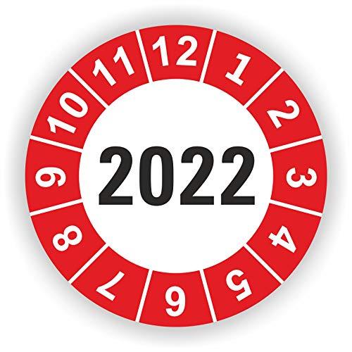 5-1.000 Stück Prüfplaketten Prüfetiketten Wartungsetiketten Jahresplakette 2022 Ø 30mm (Rot 30 Stück)