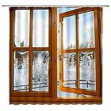 Aliyz Winter Urlaub Duschvorhang Vintage Holzfenster Schneepflanze Kreative Weißbraun Badezimmer Gardinen Dekor Polyester Stoff Schnelltrocknen 72x72 Zoll enthalten Haken Holzfenster Duschvorhang