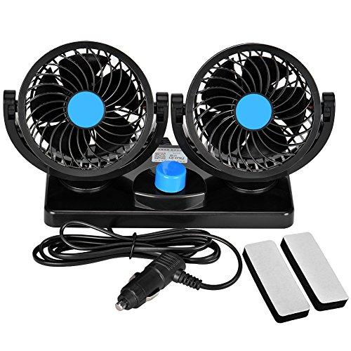 Towinle Auto Ventilator, Auto Kfz Lüfter mit 2 Geschwindigkeiten und 360-Grad-Drehung Doppellüfter Einstellbare Ventilatoren 8W/15W, 12V