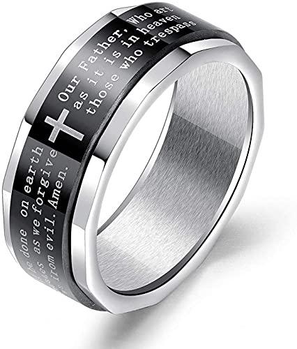 Biblia Verso Rideo de oración del Señor Cristiano para hombres, anillo de cruz religioso, anillo de spinner, anillo de amuleto, anillo de acero inoxidable, bautismo Regalo de joyería cristiana para ho