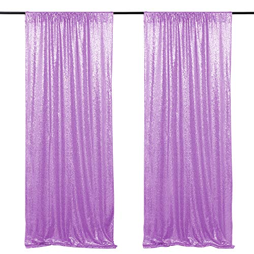 Wedding Sequin Backdrop Lavender 2 Panels 2ftx8ft Glitter Curtain Backdrop Arch Fabric Drapes for Baby Shower Birthday Party Decoration
