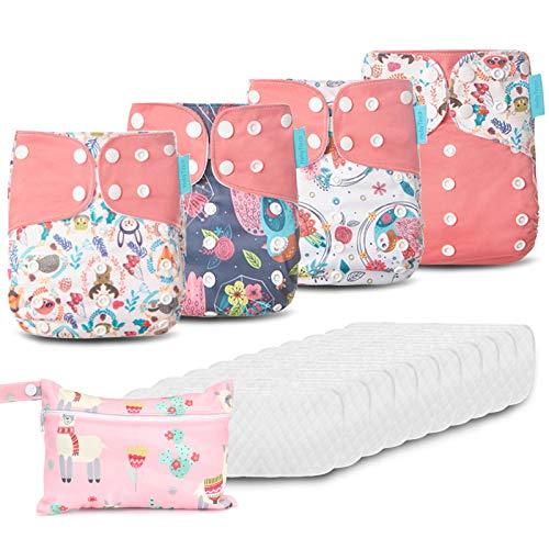 HebyTinco Baby Windelhose Windeln Trainerhosen, Stoffwindeln Windelhose Baby Set, Wiederverwendbar, Waschbar, Größe Verstellbar, Geeignet für Babys Von 0-3 Jahren, Kleine Mädchen und Jungen (Pink)