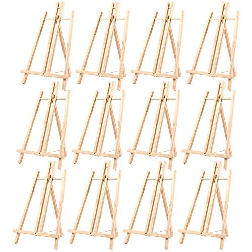 12-Pack of Tabletop Easels - Wood Easel, Mini Easels for Tabletop Painting, Standing Easel, Brown - 9 x 14.8 Inches