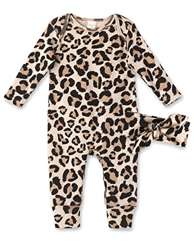 Tesa Babe Baby Girl Clothes Leopard Print Soft Cotton Footless Romper Jumpsuit Fall Long Sleeve Outfit Coverall with Headband (0-3 months)