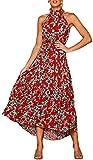 Longwu Vestido Largo Estampado Floral sin Mangas con Cuello Halter sin Mangas para Mujer Vestido Largo Plisado con cinturón Rojo-L