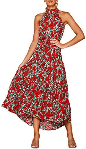 Longwu Vestido Largo Estampado Floral sin Mangas con Cuello Halter sin Mangas para Mujer Vestido Largo Plisado con cinturón Rojo-S