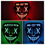 Lumiparty Halloween Scary Mask LED Mask LED Purge Mask [3PACK] LED Light Up Mask EL Wire Light Up for Festival Cosplay Halloween Costume Halloween Festival Party,Style A.