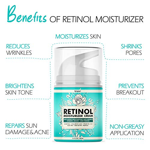 51XHJVJC6yL - 3% Retinol Face Moisturizer for Women - Anti Aging & Anti Wrinkle Cream that Works - 3.4 Oz
