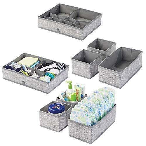 mDesign Juego de 8 cajas organizadoras para cuarto infantil de fibra sintética y con diseño de espiga – Cestas de tela para accesorios de bebé – Organizadores para armarios o cajones – gris