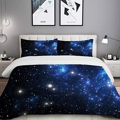 MOBEITI Bettwäsche-Set, Mikrofaser,Weltraumsternnebel Astral Cluster Astronomie Thema Galaxy Mystery,1 Bettbezug 135 x 200cm+ 2 Kopfkissenbezug 80x80cm
