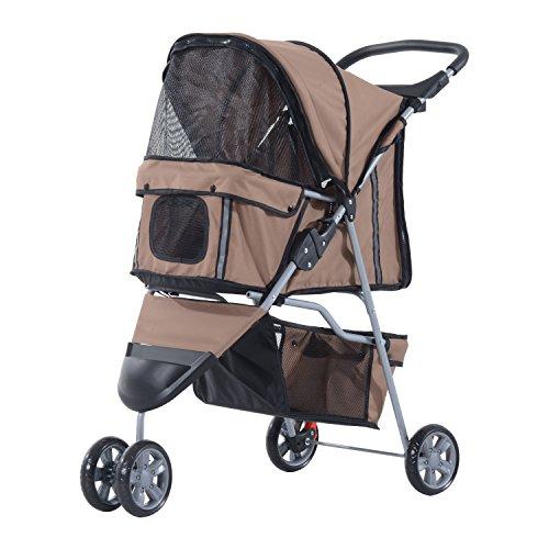 PawHut Pet Travel Stroller Cat Dog Pushchair Trolley Puppy Jogger Carrier Three Wheels (Coffee)