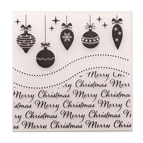 Merry Christmas baubles Balls Bells Ornament Background Plastic Embossing Folders for Card Making Scrapbooking or Paper Crafts