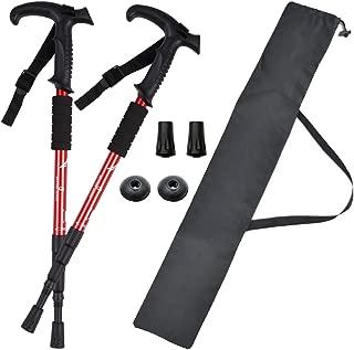 BEATON JAPAN トレッキングポール ウォーキングポール T型 登山 ストック ステッキ杖 軽量 2本セット ケース付き