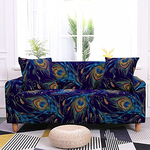 Fundas Decorativas para Sofás Impreso Azul Púrpura 1 Plazas Antideslizante Funda Protectora para Sofá Poliéster Suave con Funda elástica con Funda de sofá (90-140cm)